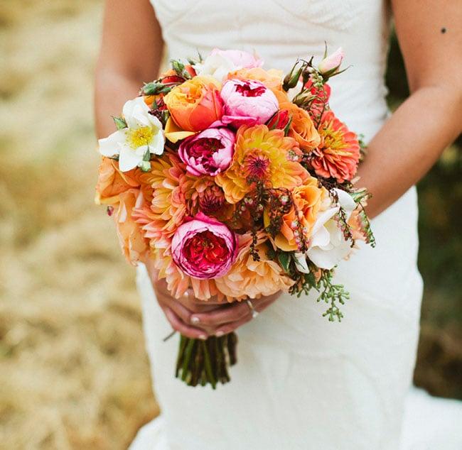ramo de novia tonos naranja