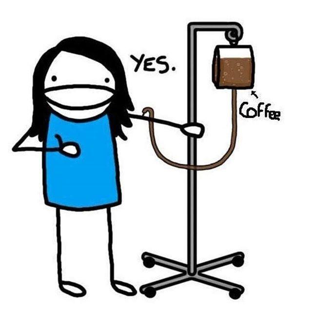 Dibujo de una chica con un suero con café