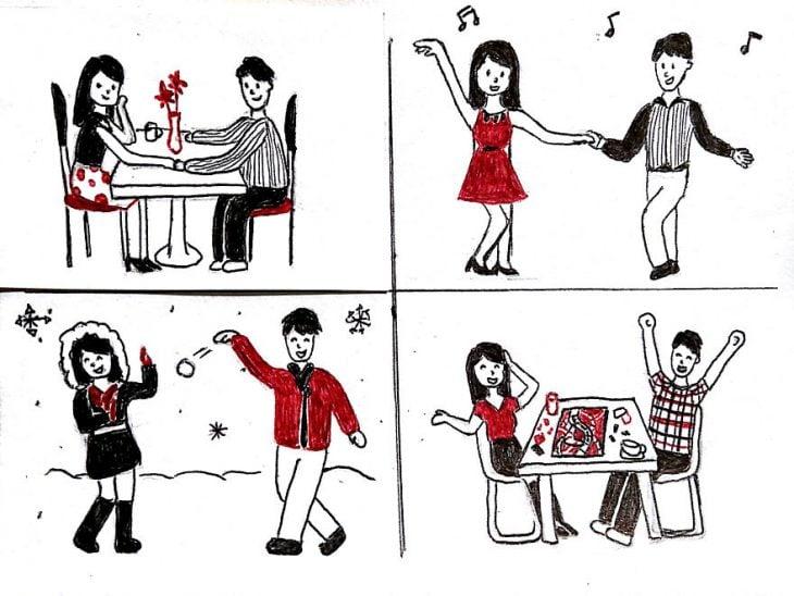 Dibujo de las relaciones a larga distancia. Tener una cita romántica