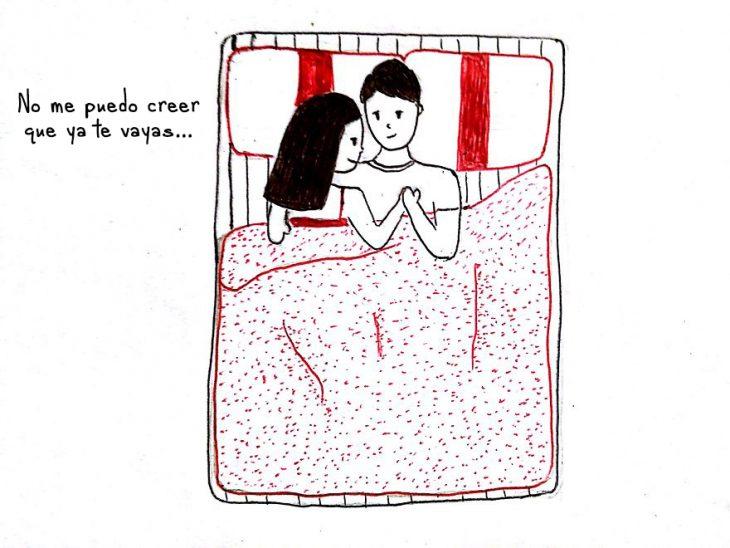Dibujo de las relaciones a larga distancia. Durmiendo juntos
