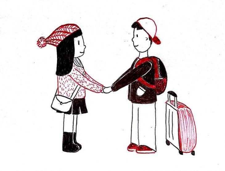 Dibujo de las relaciones a larga distancia. Despidiéndose en el aeropuerto