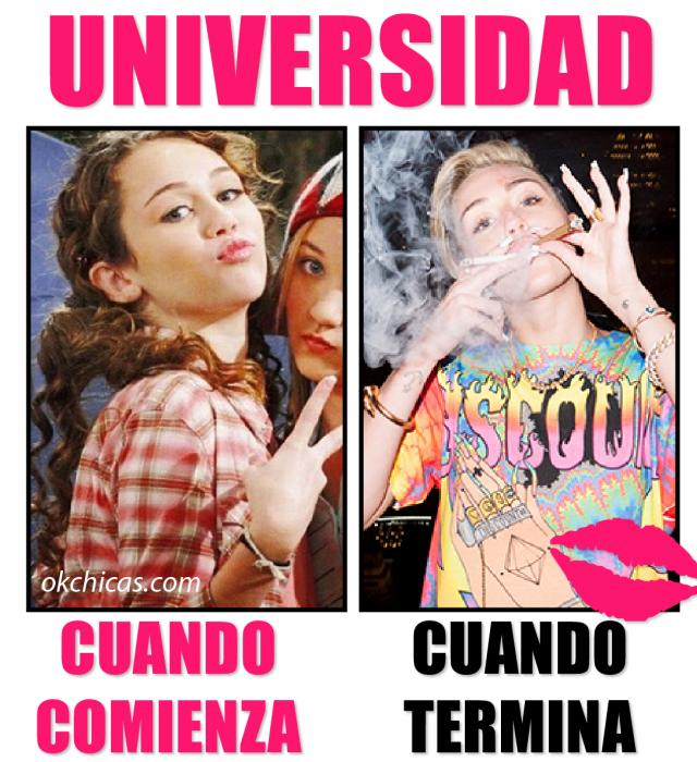 Meme ok chicas antes y después de la Universidad