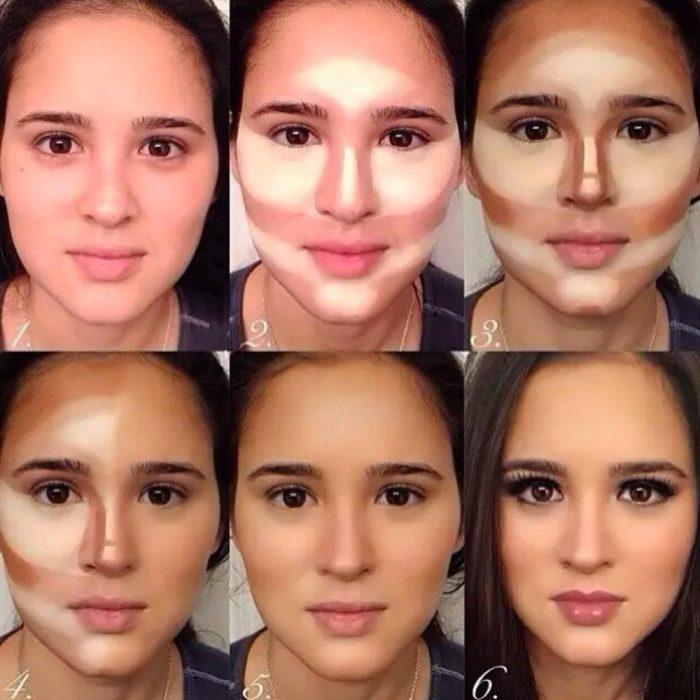Chica mostrando un tutorial para contornear su rostro