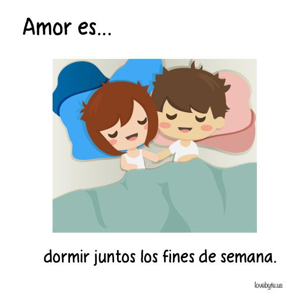 Ilustraciones de LoveByte explicando que es el amor. Dormir juntos