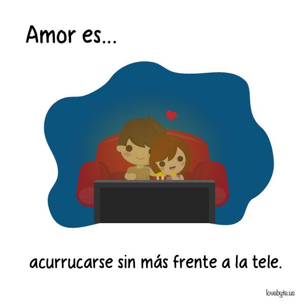 Ilustraciones de LoveByte explicando que es el amor. Pareja de novios recostados viendo televisión