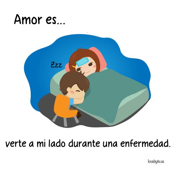 Ilustraciones de LoveByte explicando que es el amor. chico cuidando a una chica en la enfermedad