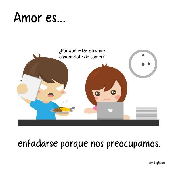 Ilustraciones de LoveByte explicando que es el amor . trabajando juntos