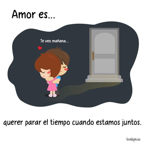 Ilustraciones de LoveByte explicando que es el amor. Abrazarse al final del día