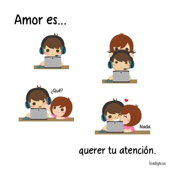 Ilustraciones de LoveByte explicando que es el amor. Pedir atención