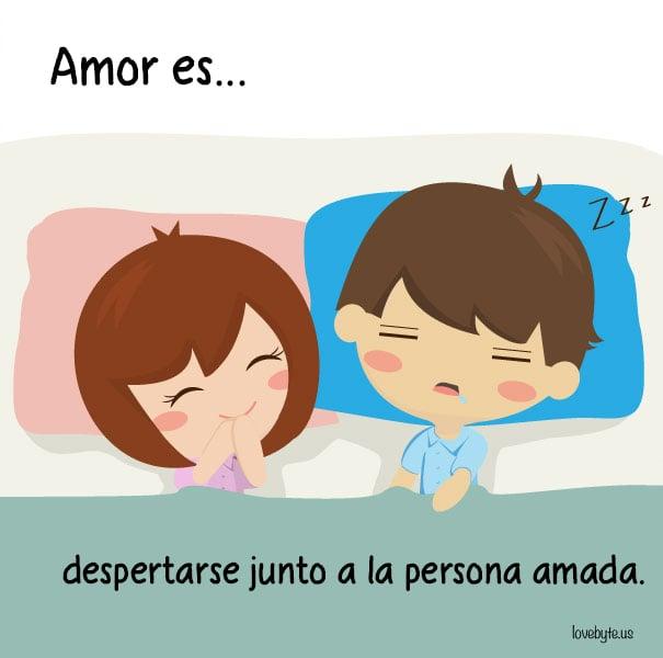 Ilustraciones de LoveByte explicando que es el amor. Despertarse junto a la persona que amas