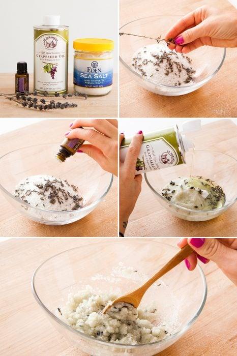 Mezcla para hacer un exfoliante natural con lavanda y sal de mar