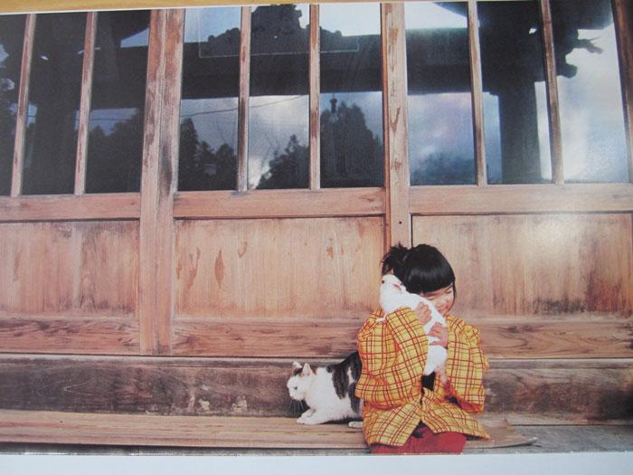Kotori Kawashima fotografiando a una niña mientras acaricia un conejo