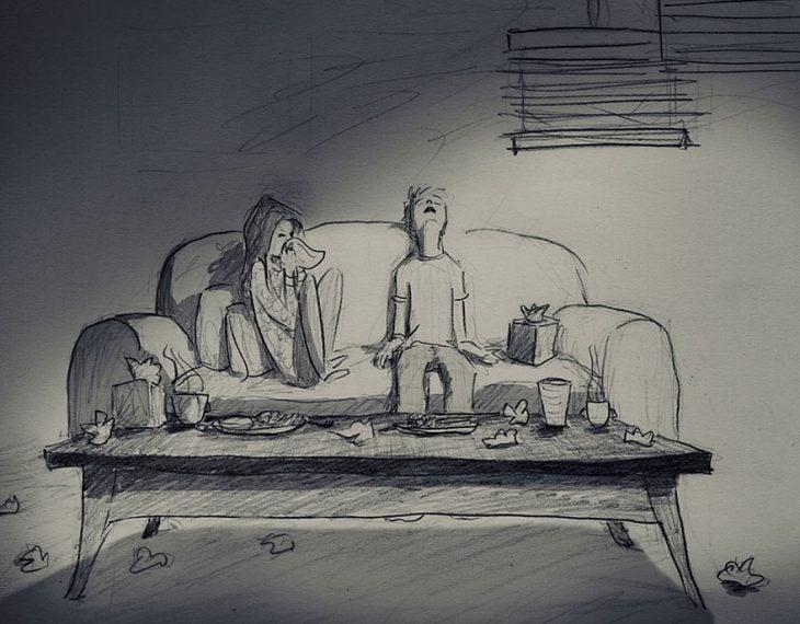 dibujo de pareja en un sillón con gripa