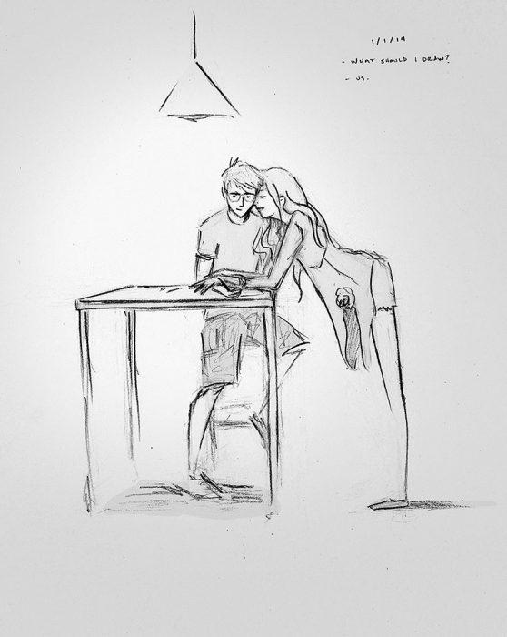 dibujo de pareja él dibujando