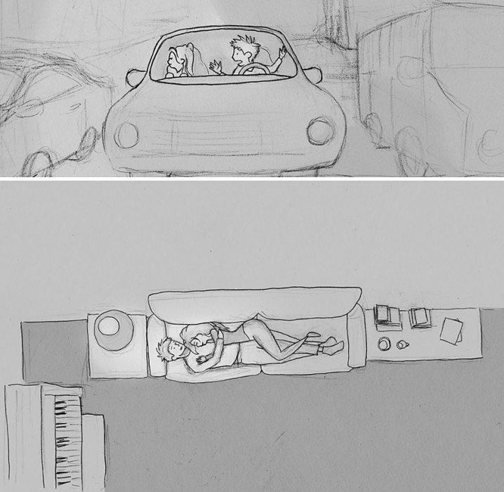 dibujo una pareja discute en el coche