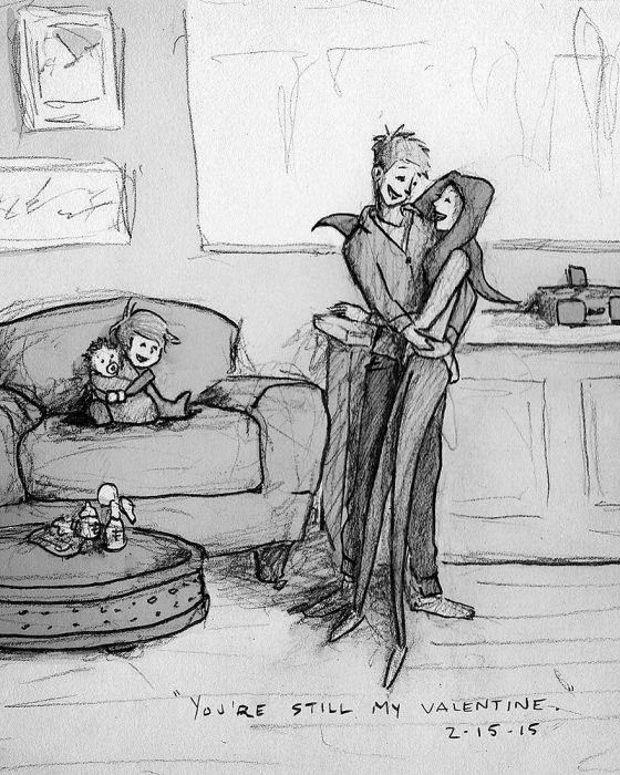 dibujo pareja con hijos