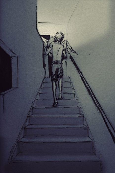 dibujo hombre cargando a su esposa por las escaleras