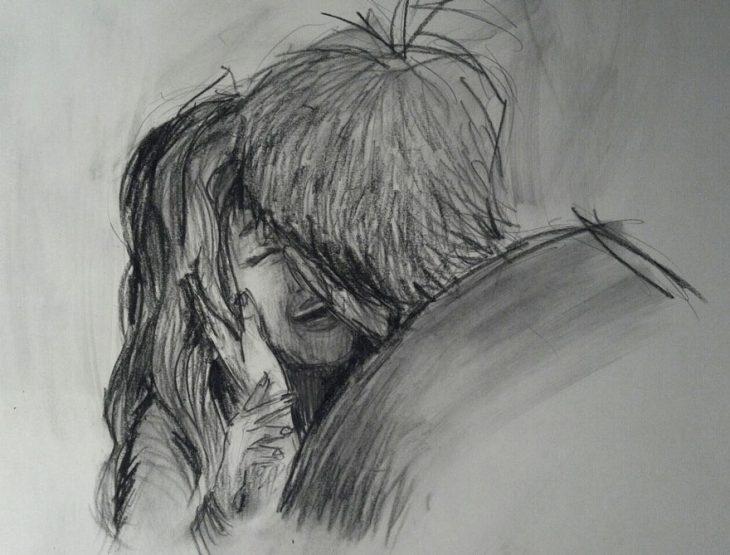 dibujo pareja besándose