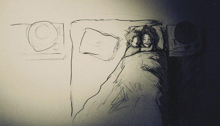 dibujo pareja acostados