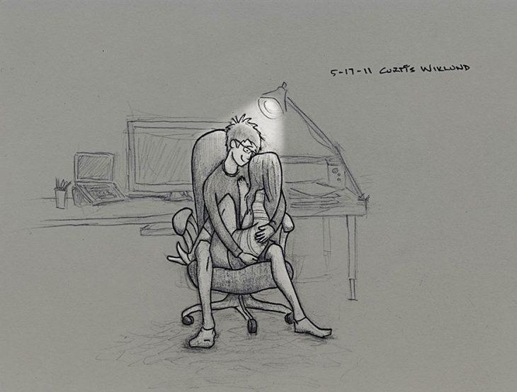 ilustración pareja en una silla