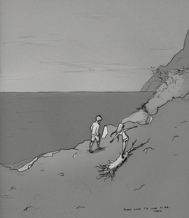 dibujo de pareja caminando por la playa