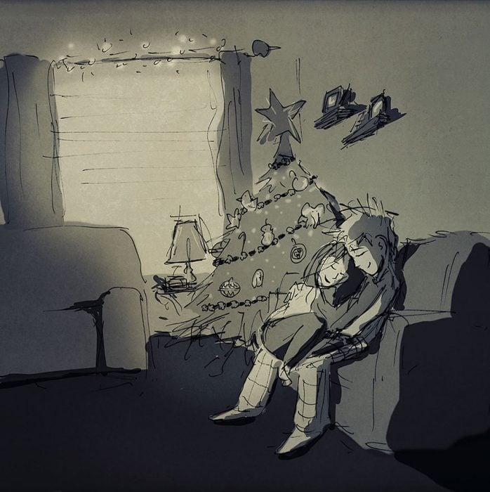 dibujo de pareja en la sala