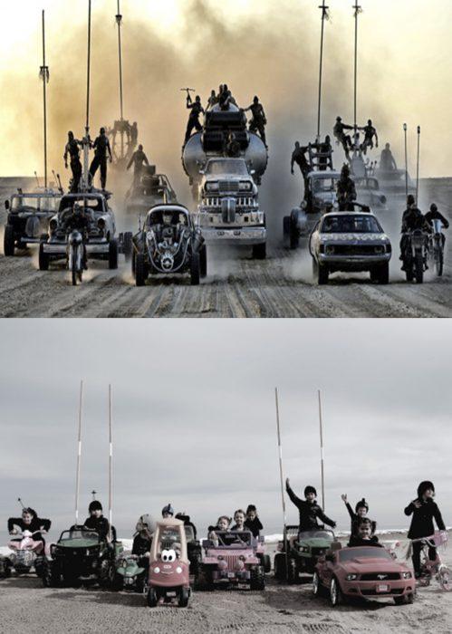 Mamá recrea fotos de películas de los Oscar. Mad Max Fury Road