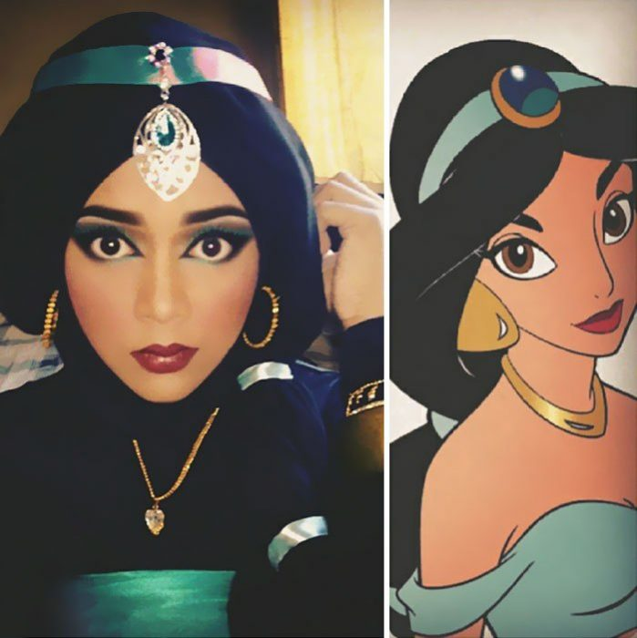 mujer se disfraza de Jasmin con hiyab