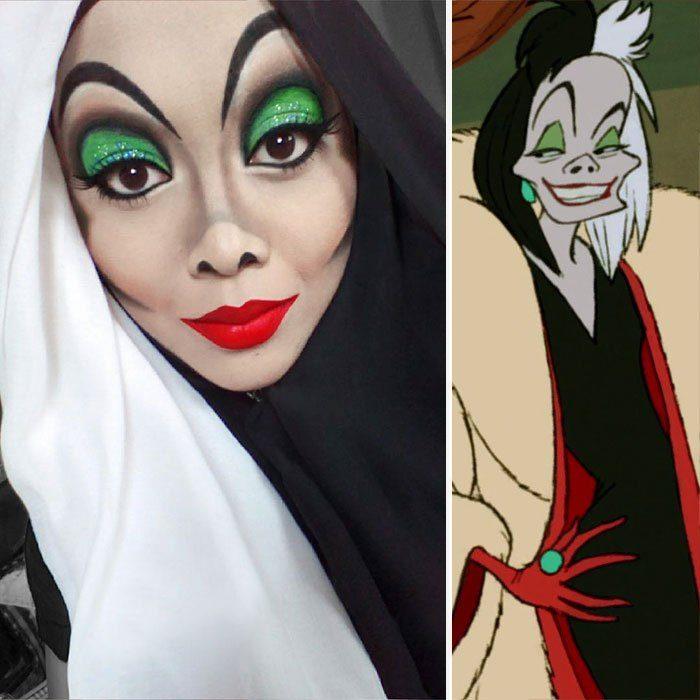 mujer se disfraza de Cruella de Vil con hiyab