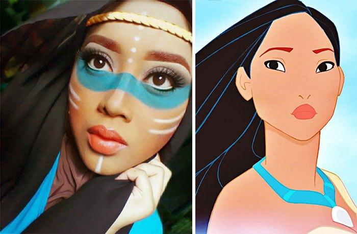 mujer se disfraza de Pocahontas con hiyab