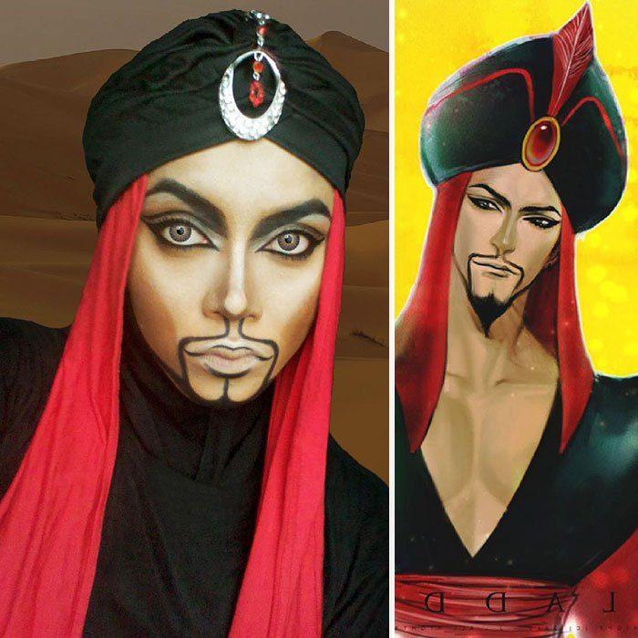 mujer se disfraza de Jafar con hiyab