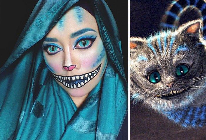mujer se disfraza de gato de sheshire con hiyab
