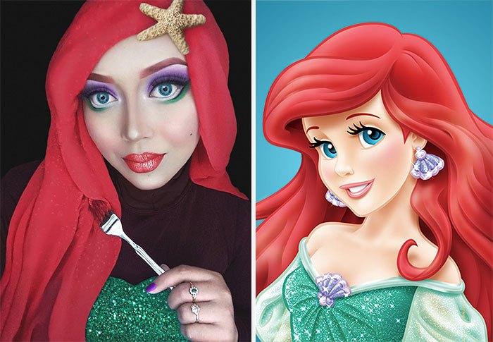mujer se disfraza de Ariel con hiyab