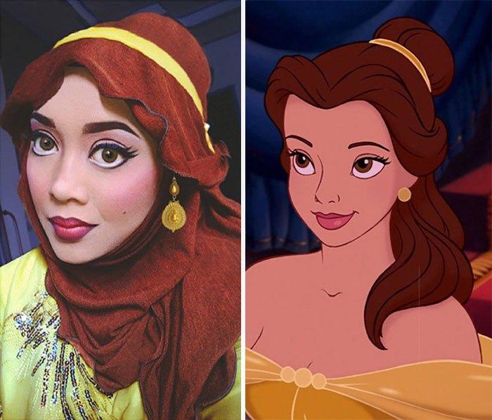 mujer se disfraza de Bella con hiyab