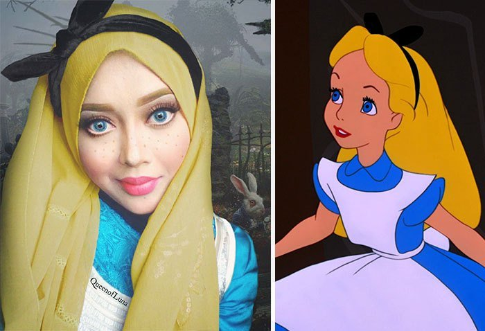 mujer se disfraza de Alicia con hiyab