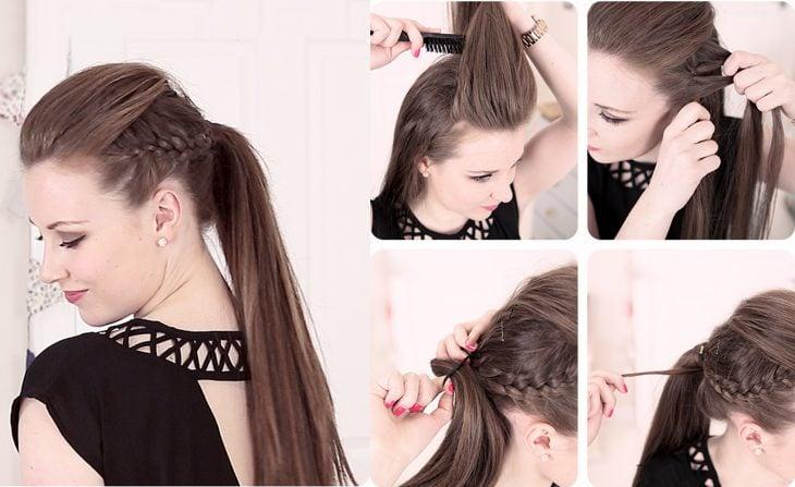 Peinados para fiestas, como hacer una ponytail con trenzas laterales