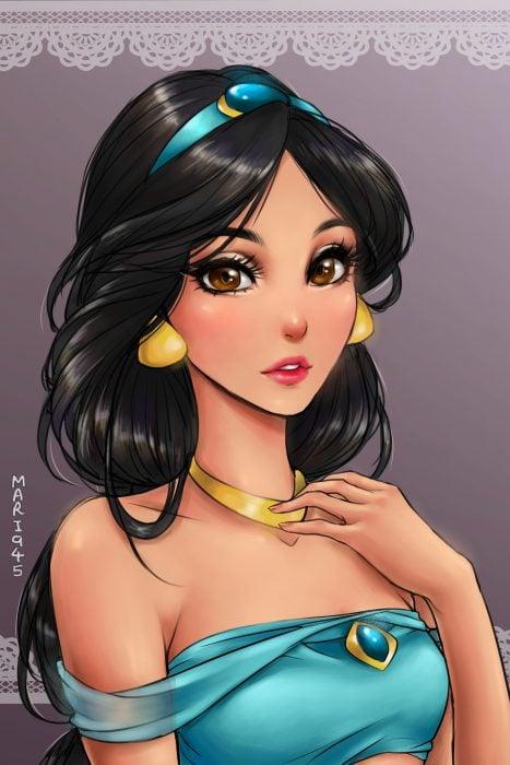 Princesa Jasmín diseñada como anime