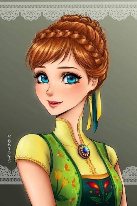 Anna diseñada como anime