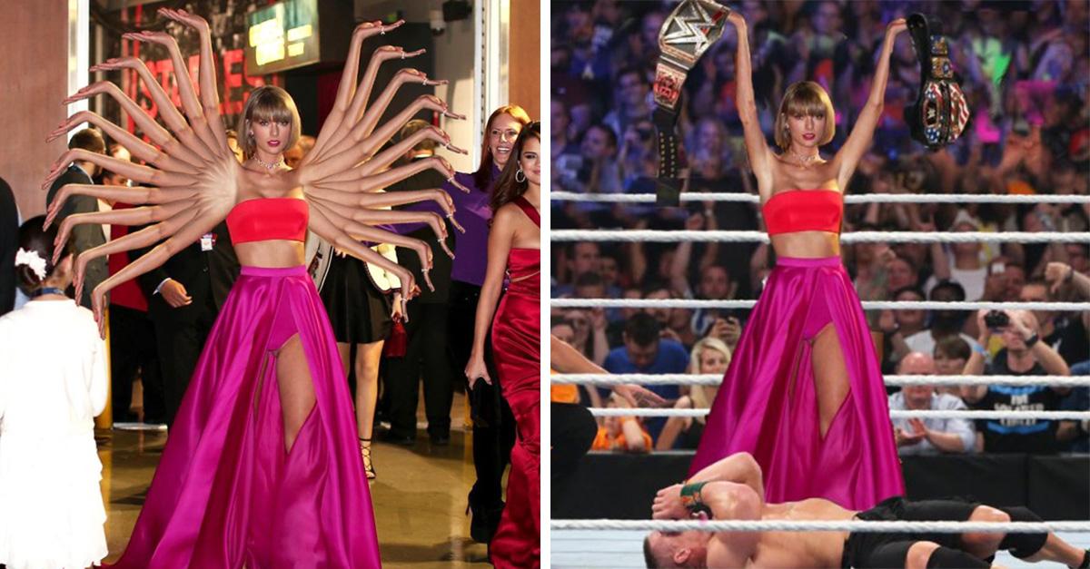 Taylor Swift ganó un Grammy por el mejor disco del año. Cuando salió del evento fue captada en una pose triunfante y comenzó la broma de trollear su foto en una creativa guerra de photoshop