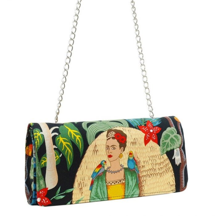 Bolsa tipo clutch con algunas pinturas de Frida Kahlo