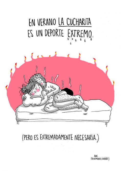 Ilustración de cuando duermes de cucharita en tiempo de calor