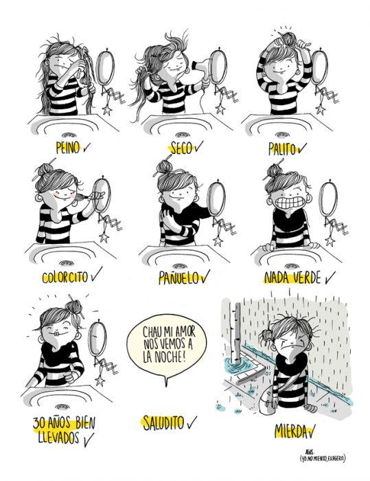 Ilustración de cuando te arreglas y llueve
