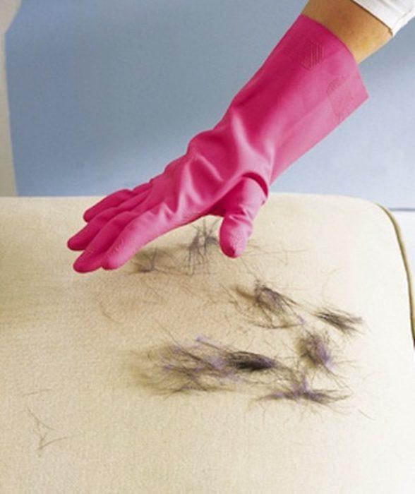 Cómo eliminar los pelos de los animales con guantes de goma