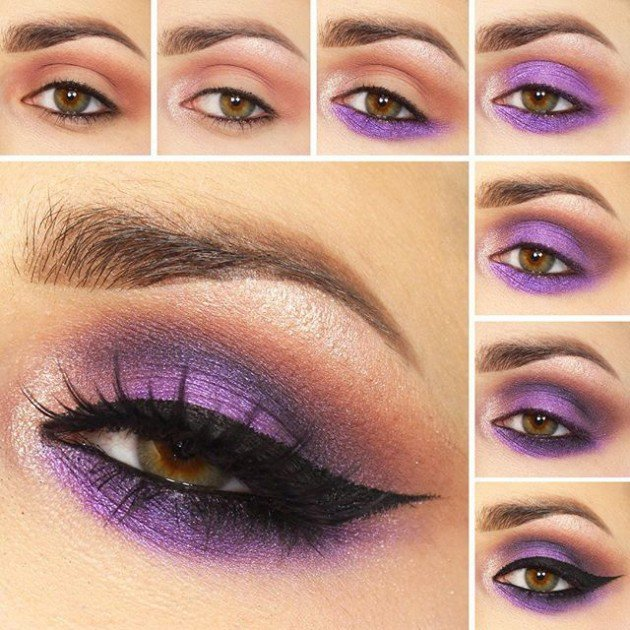 Maquillaje de ojos para noche en color purpura