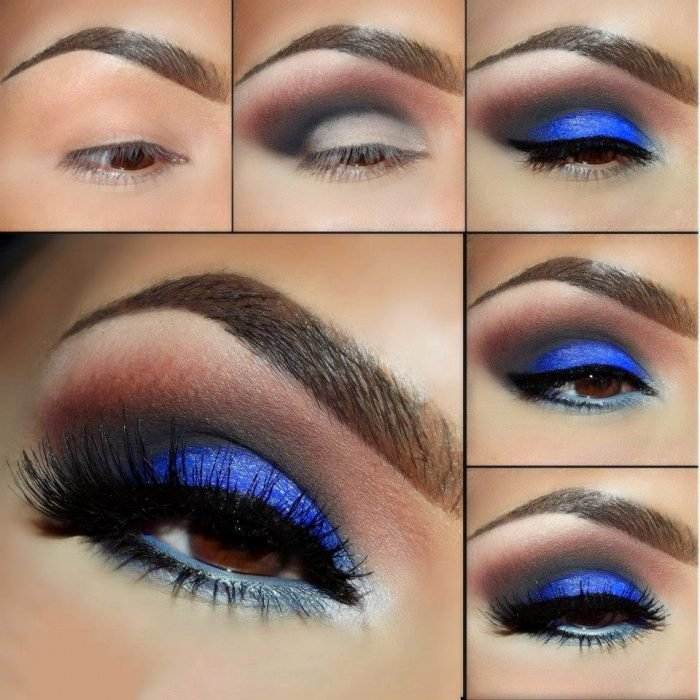 Maquillaje de ojos para noche en color azul