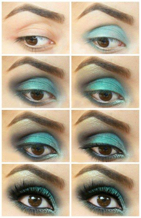 Maquillaje de ojos para noche en color verde brillante