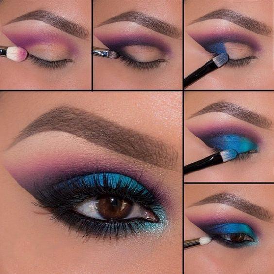 Tutorial de maquillaje para ojos de noche en color azul con rosa