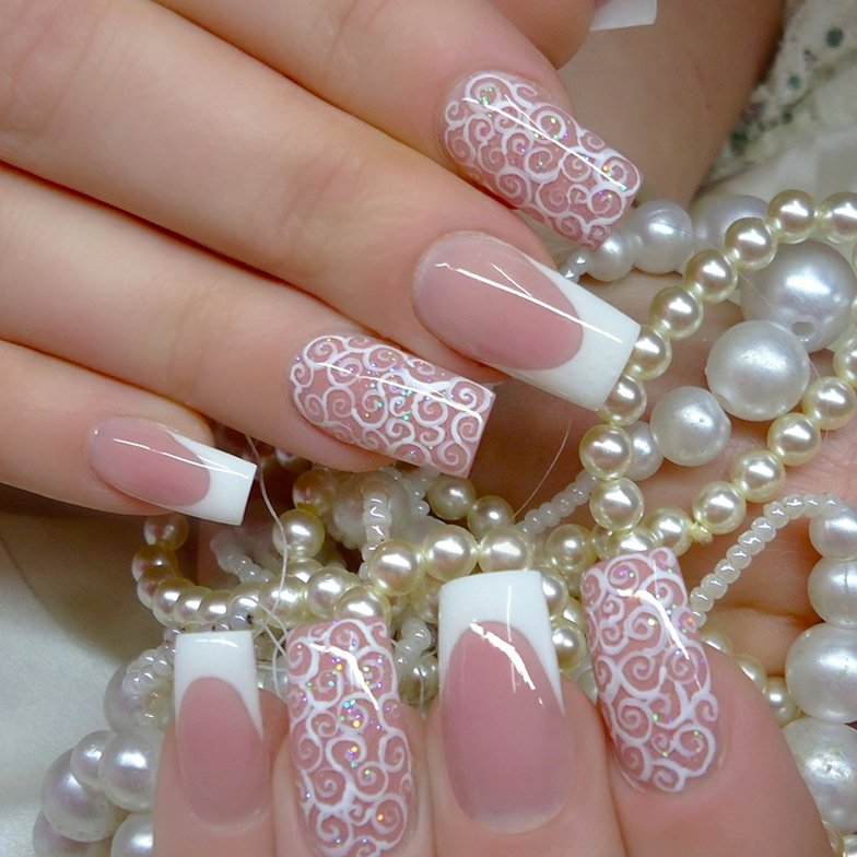 uas de novia estilo francs con estampados blancos