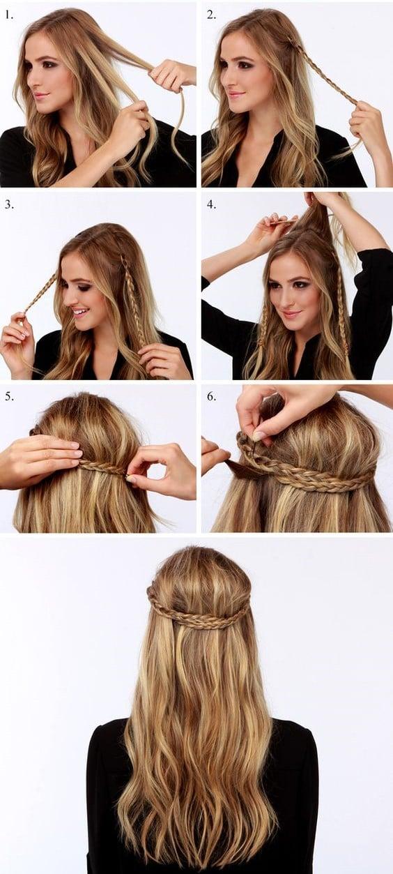 tutorial para peinado rapido y facil trenza y cabellos suelto bohemio - Peinados Largos