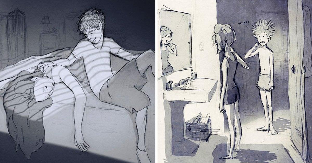 Marido ilustra cada día con su esposa